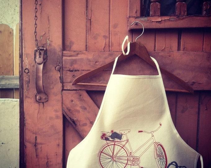 Hand Printed Kitchen Apron - California Cruiser Bicycle on Natural Cotton Canvas   Bike Print Holiday Gift Apron