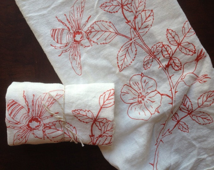 Hand Printed Flour Sack Napkins - California Native Wild Rose - Scarlet on Bright White - Set of 2