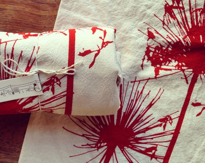 Hand Printed Flour Sack Napkins - Agapanthus - Scarlet on Natural Cotton - Set of 2