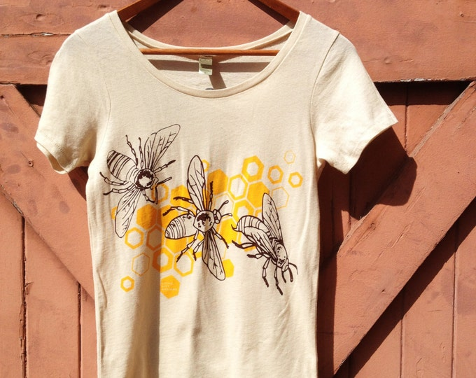 Honeybee Organic Cotton T-Shirt - Classic Crew | Hand Printed Organics Tshirt | Natural Handmade Honey Bee Shirts