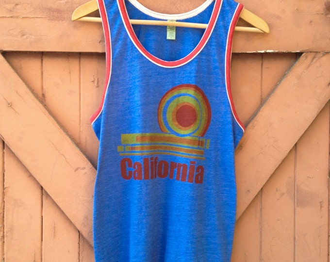 California Dream Tank - Organic Cotton Blend in Heather Royal & Red