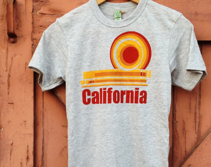 Organic Cotton Blend T-Shirt - California Dream, Heather Gray | Vintage Inspired Retro California Hand Printed Tshirt