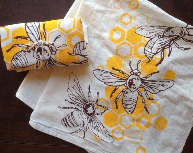 Honey Bees Flour Sack Tea Towels - Single | Hand Printed Flour Sack Towel | Handmade Holiday Gift | Honeybees Gifts