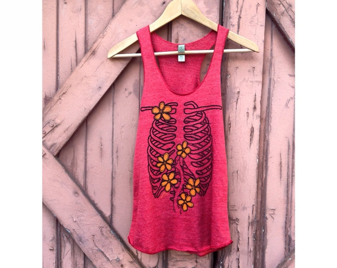 Rib Cage Garden Organic Cotton Blend Tank in Cherry Red