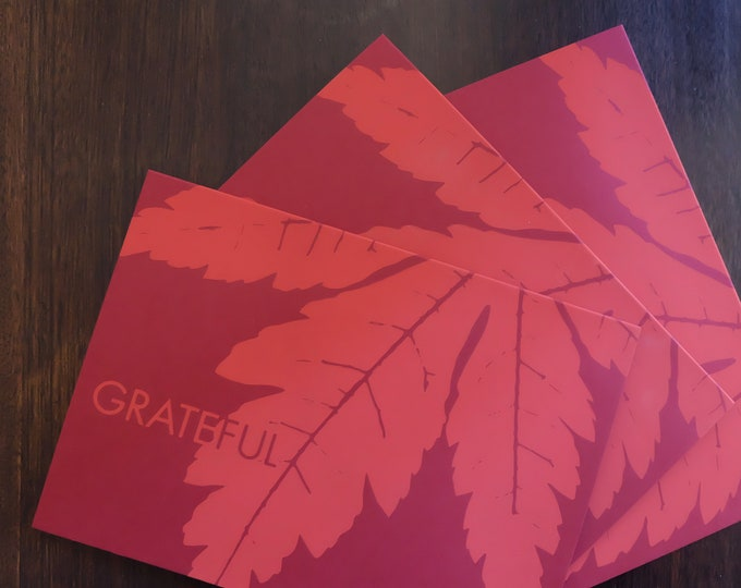 Hand Printed Holiday Greeting Cards Set of Three | Thanksgiving Card | Screen Printed Autumn Maple Leaf Notecard