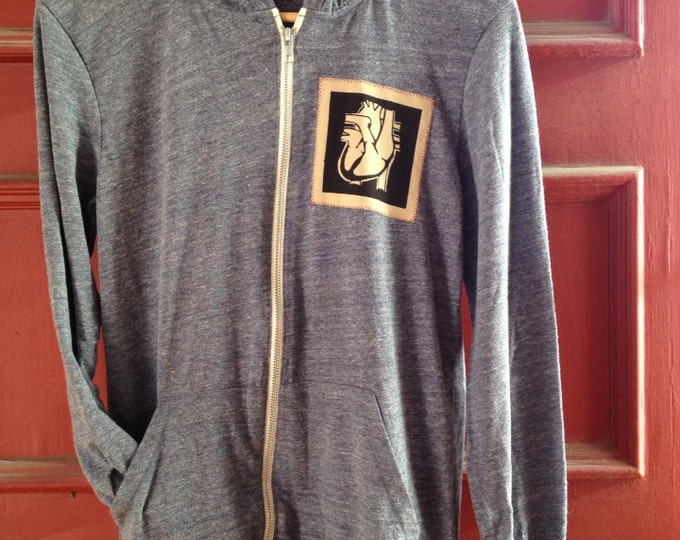 Last in Stock! Organic Cotton Hoodie 'Warm Your Heart' - Heather Navy | Hand Printed Hoody Sweatshirt