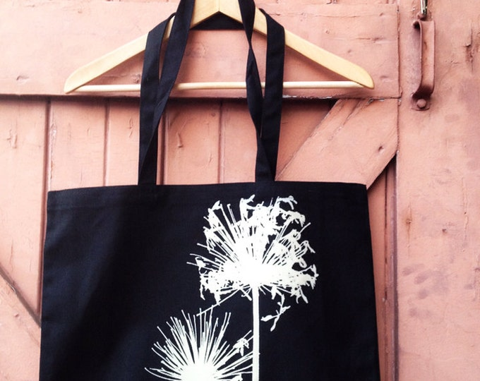 Organic Cotton Canvas Market Tote - Agapanthus, Bone on Black | Hand Printed Tote Bag | Screen Print Bags Totes