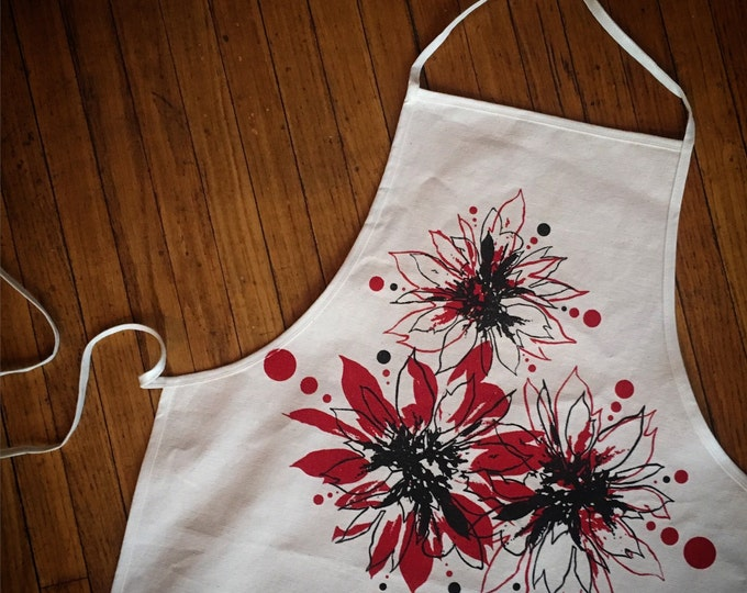 Hand Printed Holiday Kitchen Apron Winter Poinsettias on Unbleached Cotton Canvas | Christmas Aprons | Handmade Holidays Gift
