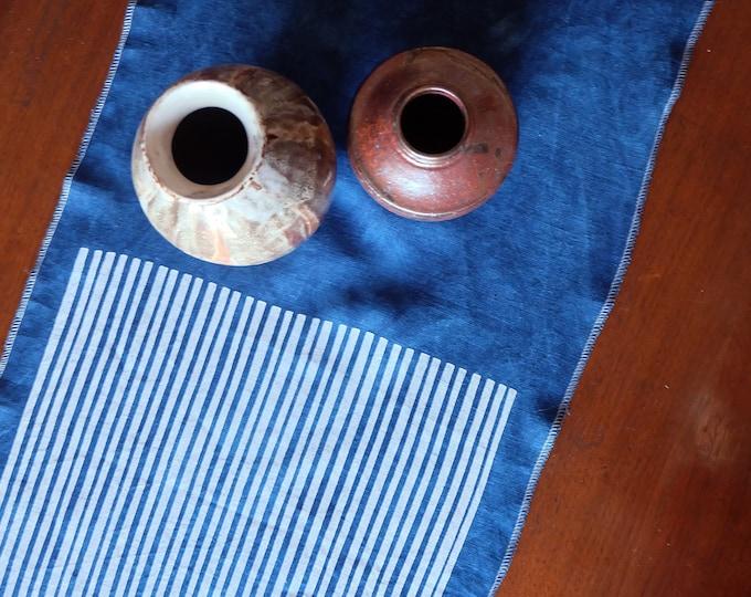 LAST TWO! Stripes & Indigo Hand Printed Linen Table Runner | Hand Dyed Indigo Handmade Linens | Homeware Holiday Gift | Wedding Gifts