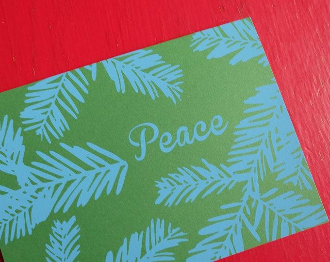 Hand Printed Holiday Card - Winter Greens Set of 3 | Handmade Holiday Greeting Cards | Screen Print Notecard | Silk Screened Notecards