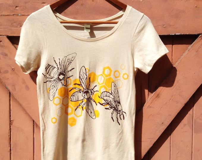 Honeybee Organic Cotton T-Shirt - Classic Crew | Hand Printed Organics Tshirt | Natural Handmade Honey Bee Shirts