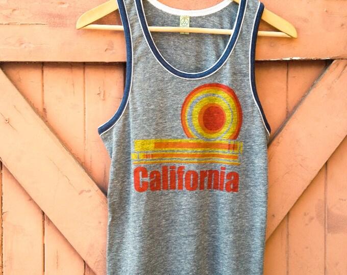 California Dream Hand Printed Retro Ringer Tank in Organic Cotton Blend - Heather Slate & Navy - Women's | Women's Vintage Surf Tanks