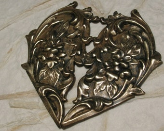 Beautiful Big Brass Floral Heart Stamping with Patina