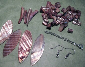 Bronze Mother of Pearl Destash Lot with Leaf and Tooth Beads
