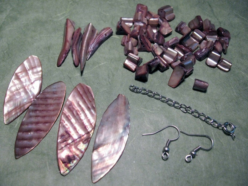 Bronze Mother of Pearl Destash Lot with Leaf and Tooth Beads image 0