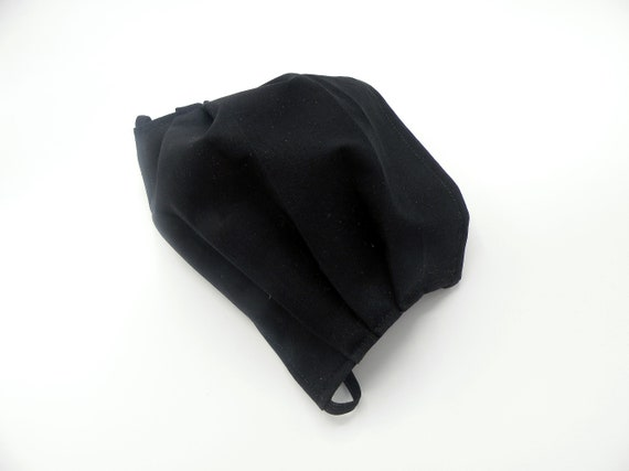 Solid Black Cloth Face Mask, Washable, Opening for Filter Insert
