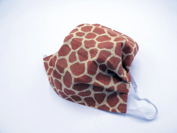 Giraffe Print Cloth Face Mask, Washable, Opening for Filter Insert