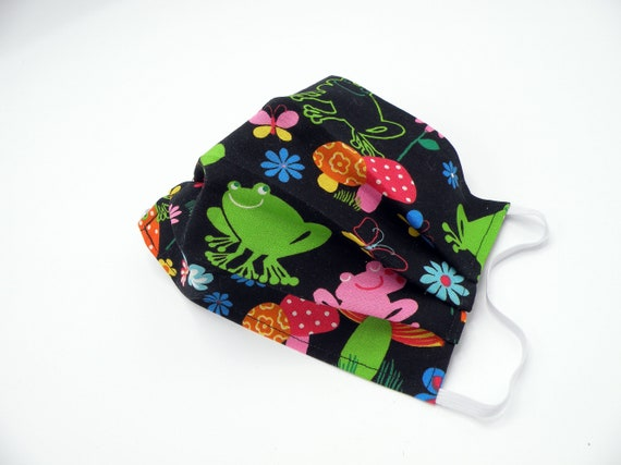 Frogs and Flowers Cloth Face Mask, Washable, Opening for Filter Insert