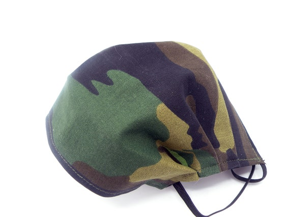 Camo Cloth Face Mask, Washable, Opening for Filter Insert