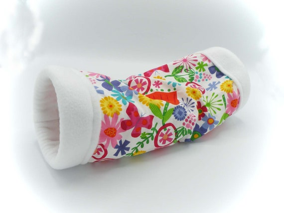 Tossed Flowers 5 Inch Large Cozy Tunnel for Your Favorite Little Hedgehog, Guinea Pig, Ferret, Small Pet