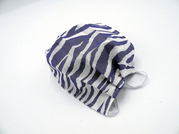 Purple Zebra Cloth Face Mask, Washable, Opening for Filter Insert