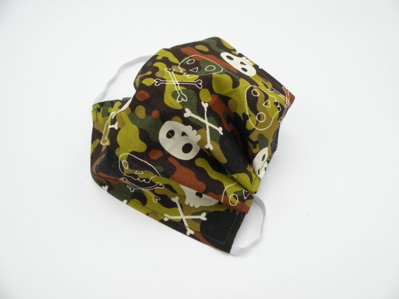 Skulls and Camo Cloth Face Mask, Washable, Opening for Filter Insert