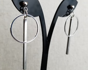 BTS Bang Bang Con V Kim Taehyung Inspired Circle Dangle Earring, Hypoallergenic, Non-Pierced Option Available, V BBC