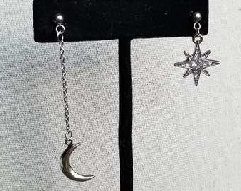 Silver Crescent Moon and Rhinestone Star Asymmetrical Earring Set, Customizable, Hypoallergenic Posts, Clip On Option Available, MOONSTAR