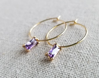 BTS Kim Taehyung V Dynamite Inspired Purple Gem Gold Hoop Earring, Hypoallergenic, Non-Pierced Option Available