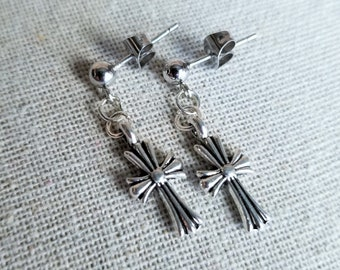 BTS Park Jimin Inspired Gothic Cross Earrings from Wings Lie Era and Black Swan, Hypoallergenic, Clip On Option Available, JIM WINGS