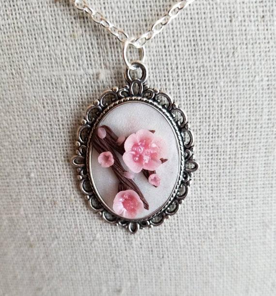 handmade necklace Springtime Pink Cherry Blossom Branch Pendant