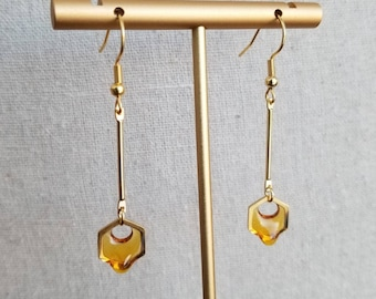 Gold Dripping Honeycomb Earrings, HGE2, Bee Honey Stainless Steel Hypoallergenic Earrings, Non-Pierced Option Available