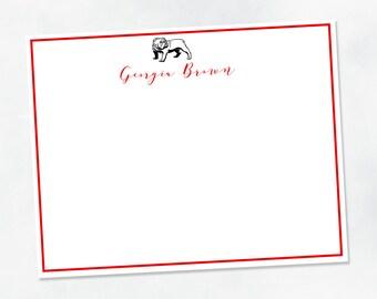 Personalized Notecard Stationery Set {University of Georgia Campus Skyline Athens Georgia}