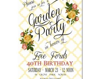 garden party invitation birthday party invitation digital etsy