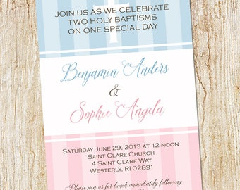 twin baptism invitation digital file christening baby etsy