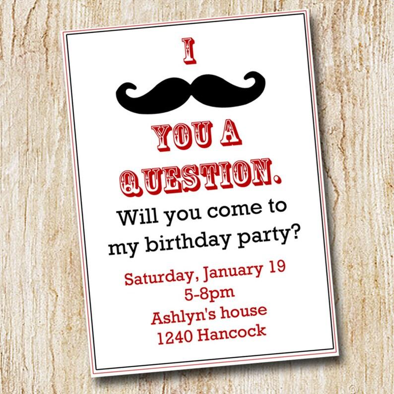 Mustache Party Invitation Boy S Birthday Invitation Etsy