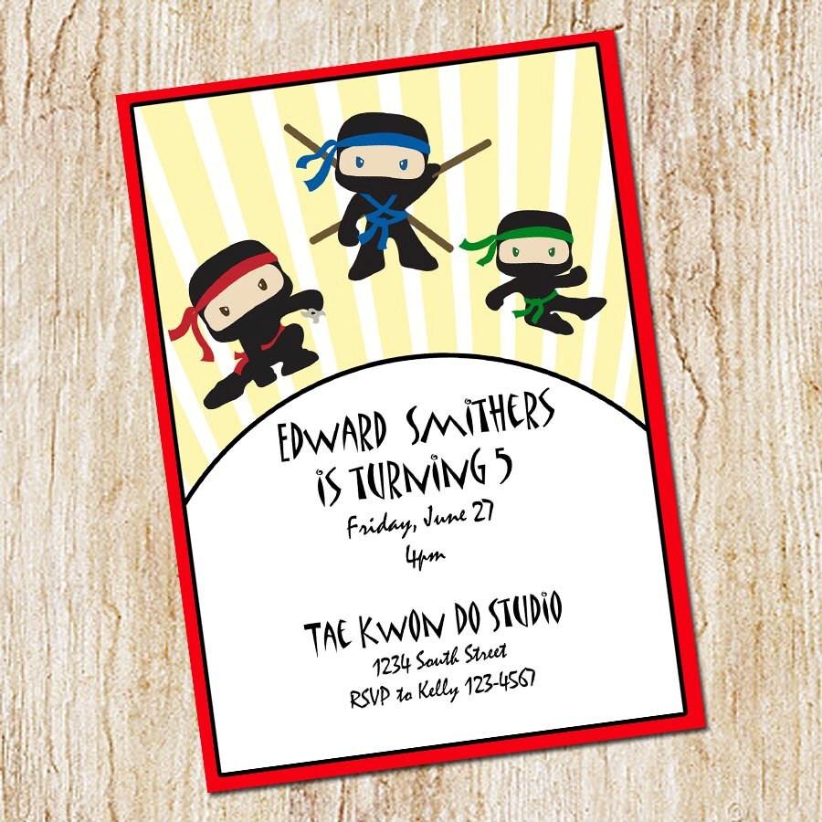 Ninja invitation Boy\'s Birthday Invitation Digial File   Etsy