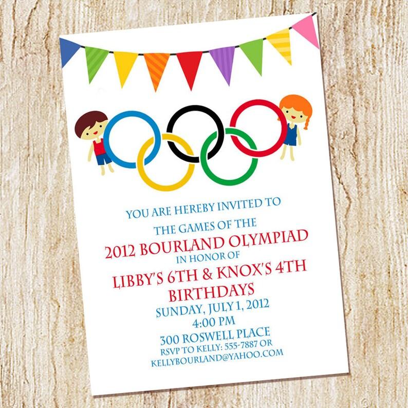 Olympic Party Invitation Olympics Birthday Invitation Digial Etsy