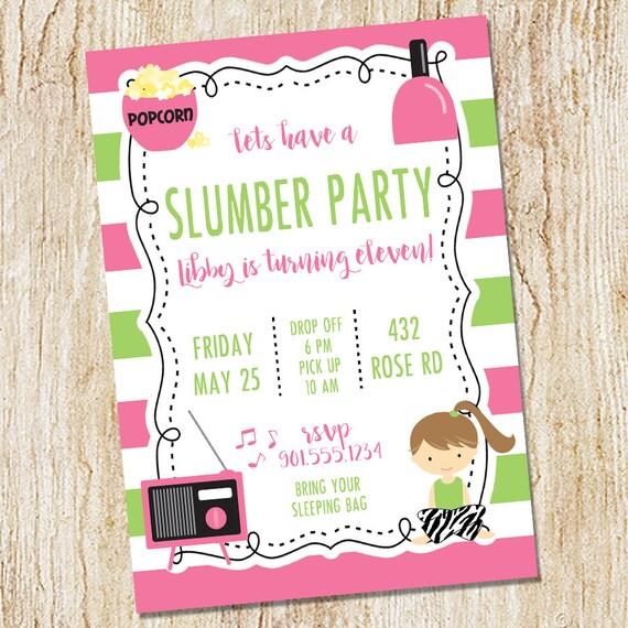 Pyjama Party Einladung Ubernachtung Einladung Nachteule Etsy