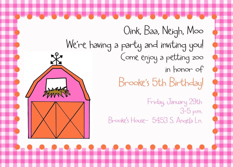Petting Zoo Invitation Digital File Barn Party invitation   Etsy