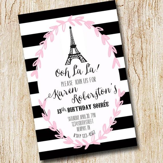 Paris Eiffel Tower Girl Birthday Party Invitation Bridal Shower