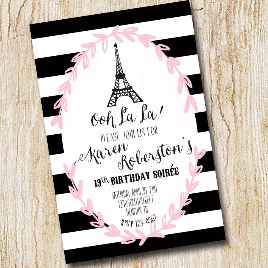Paris Eiffel Tower Girl Birthday Party Invitation bridal | Etsy