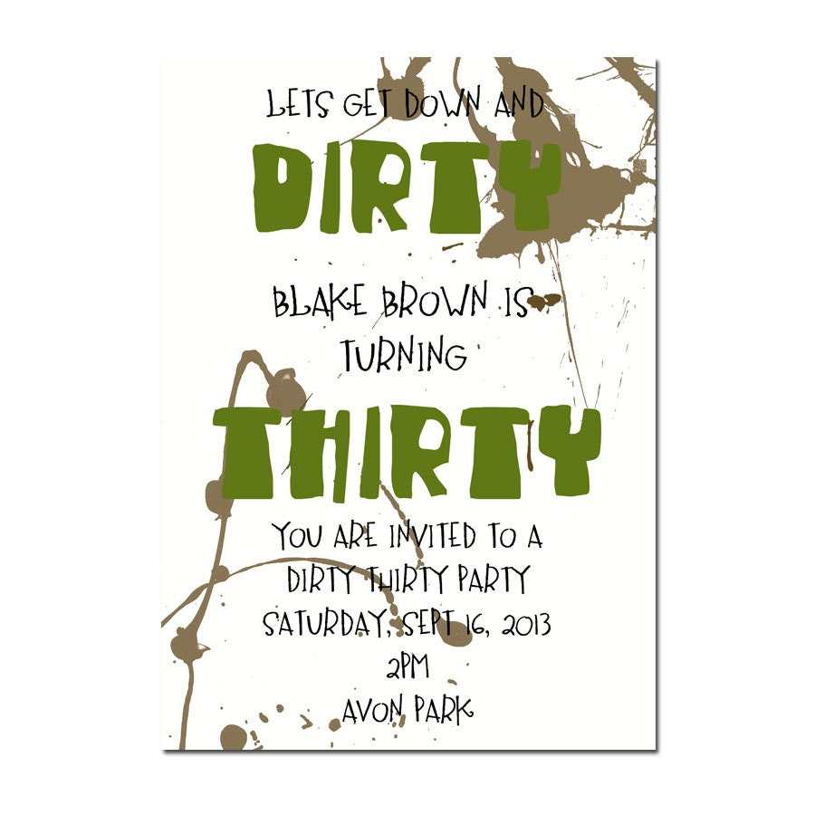 DIRTY THIRTY PARTY invitation Surprise Party invitation | Etsy