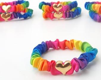 Rainbow Skinny Scrunchie - Rainbow Stripe Satin Thin Hair Scrunchies with Gold Heart Bead. Rainbow Hair Accessories. Rainbow Bracelet.