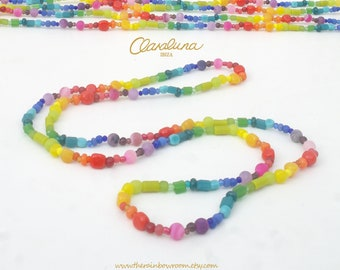 Rainbow Infinity - A kaleidoscopic necklace made from a spectrum of beads. Rainbow Necklace. Colourful Beads. Bali Beads. Handmade in Ibiza.