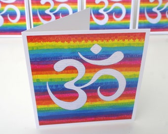 Rainbow Om Art Greetings Card-  A  colourful and positive greetings card from my original mixed media painting