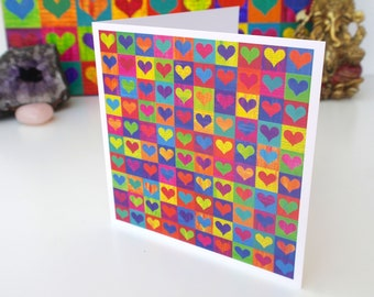 Lots of Love Art Greetings Card-  A  colourful and positive greetings card from my original mixed media painting