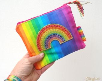 Rainbow Patch Zipper Pouch -  Funky Rainbow Stripe Bag with my Rainbow Patch and Handmade Tassel. Rainbow Purse. Rainbow Bag. Rainbow Pouch