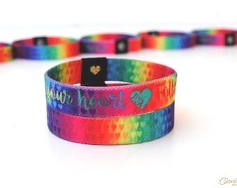 Follow Your Heart Wristband - Positive Affirmation Rainbow Wristband.  Reversible Elastic Wristband. Rainbow Bracelet. Mantra Wristband