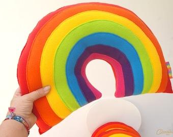 Rainbow Plush Pillow - A Cute and Funky Plush Fleece Rainbow Cushion from Claraluna as seen on CBeebies